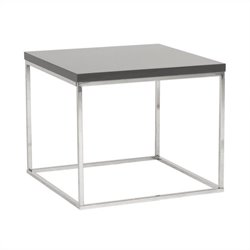 Eurostyle Teresa Square Side Table in Gray Lacquer
