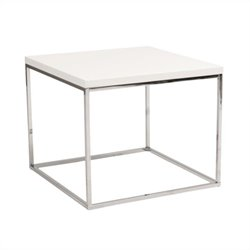 Eurostyle Teresa Square Side Table in White Lacquer