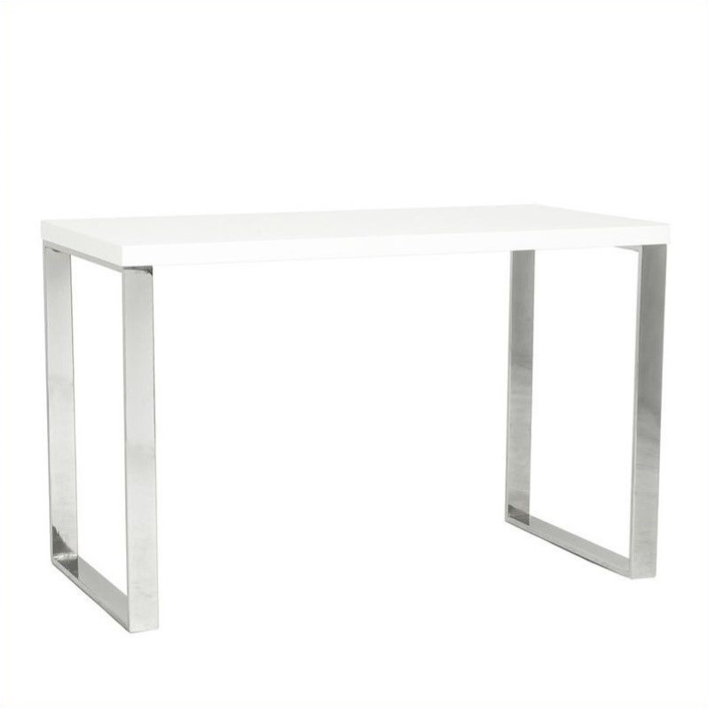 Eurostyle Dillon Desk in White Lacquer / Polished Stainless Steel