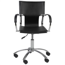 Eurostyle Vinnie Office Chair in Black Leather/Chrome