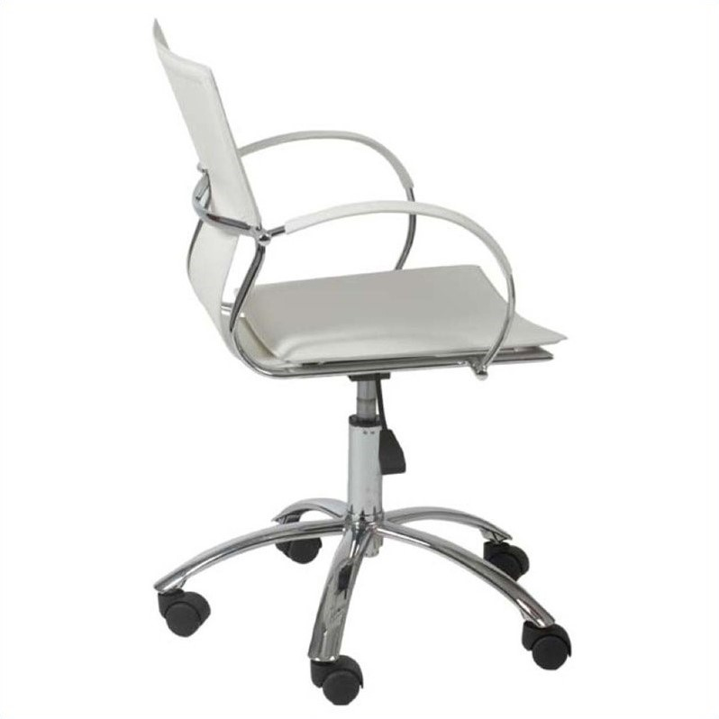Eurostyle Vinnie Office Chair in White Leather/Chrome