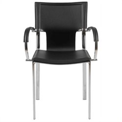 Eurostyle Vinnie Arm Dining Chair in Black Leather/Chrome