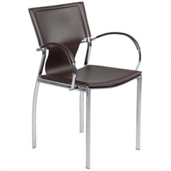 Eurostyle Vinnie Arm Dining Chair in Brown Leather/Chrome