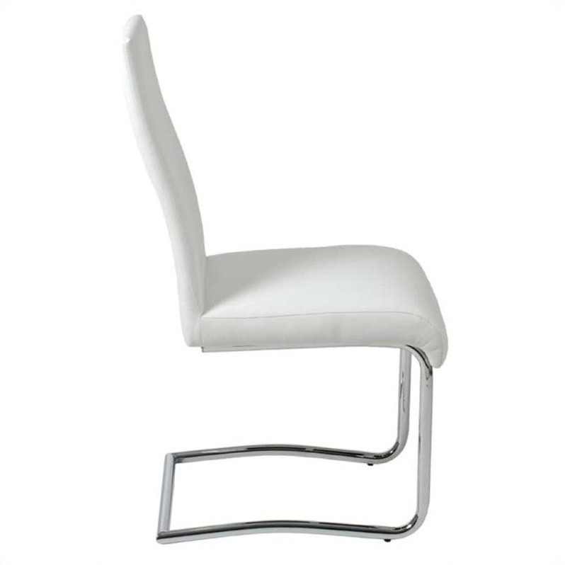 Eurostyle Rooney Low Back Dining Chair in White/Chrome
