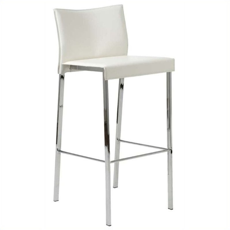 30 Quot Bar Stool In White Leather And Chrome 17223wht