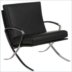 Eurostyle Pietro Lounge Chair in Black Leather