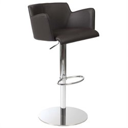 Adjustable Bar Stool in Brown and Chrome
