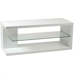 Eurostyle Hilda Media Stand in White Lacquer/Clear Glass