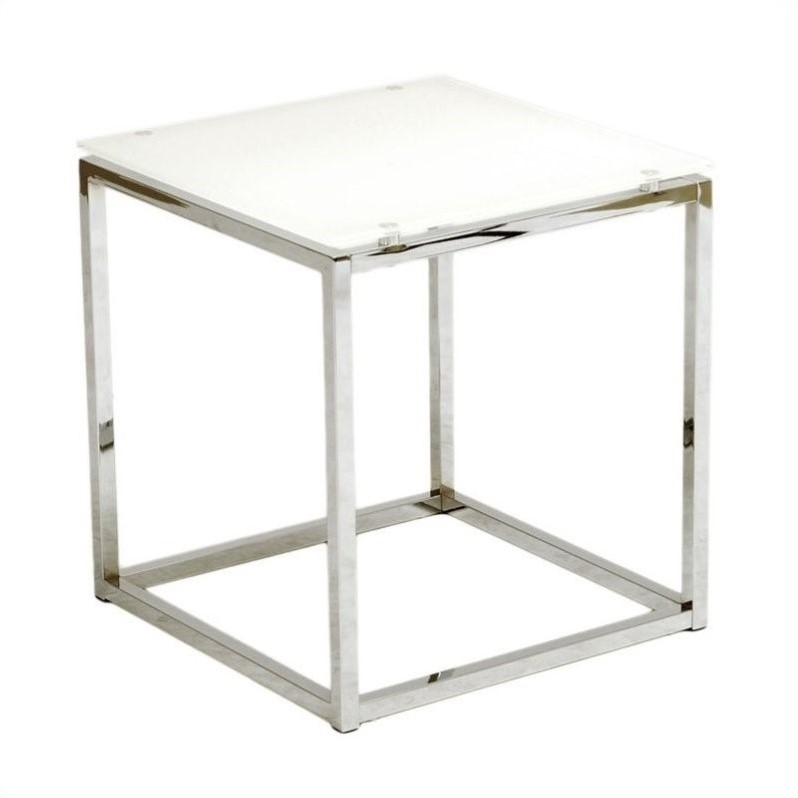 Sandor Side Table in Pure White Glass/Chrome