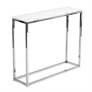 Eurostyle Sandor Console Table in Pure White Glass/Chrome