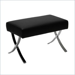 Eurostyle Pietro Ottoman in Black Leather/Chrome