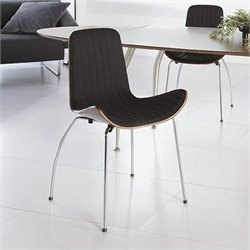 Eurostyle Curt Side Chair in Dark Gray and Walnut