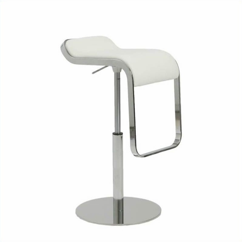 Adjustable Bar Stool in White