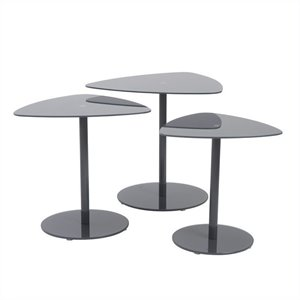 Eurostyle Sarafina 3 Piece Glass Side Tables in Gray