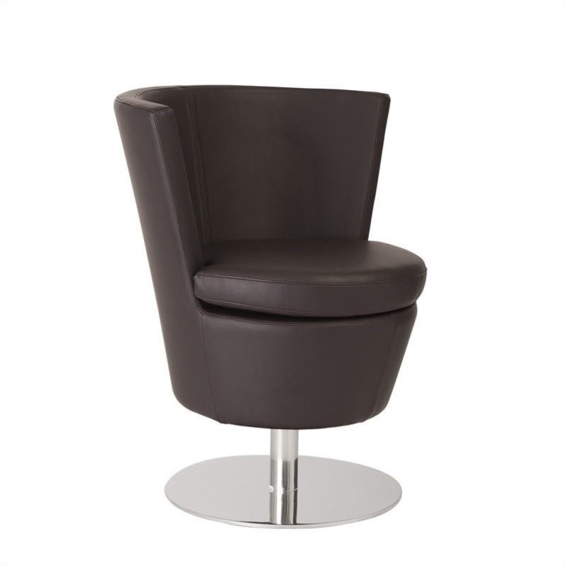 Eurostyle Squire Faux Leather Swivel Chair in Dark Brown