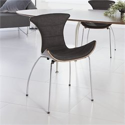 Eurostyle Stefano Side Chair in Dark Gray Fabric and Walnut