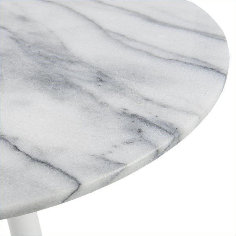 Eurostyle Tammy Side Table in Marble and White
