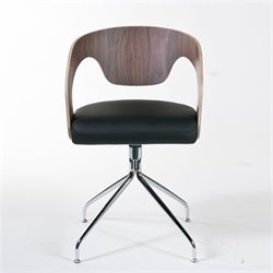 Eurostyle Bernice Swivel Arm Dining Chair in Walnut and Black