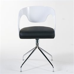 Eurostyle Bernice Swivel Arm Dining Chair in White and Black