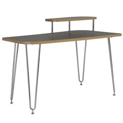 Eurostyle Hanh Right Shelf Desk in Gray and Chrome