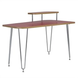 Eurostyle Hanh Right Shelf Desk in Red and Chrome