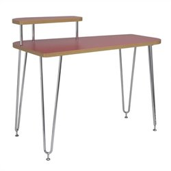 Eurostyle Hanh Left Shelf Desk in Red and Chrome