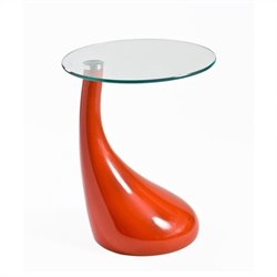 Eurostyle Julia Round Side Table in Orange and Clear Glass