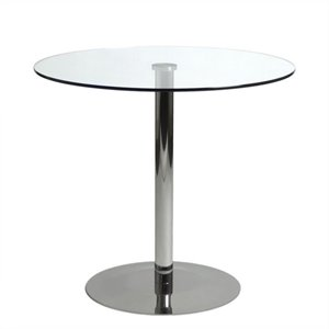 Eurostyle Ava Bistro Dining Table in Clear Glass and Chrome