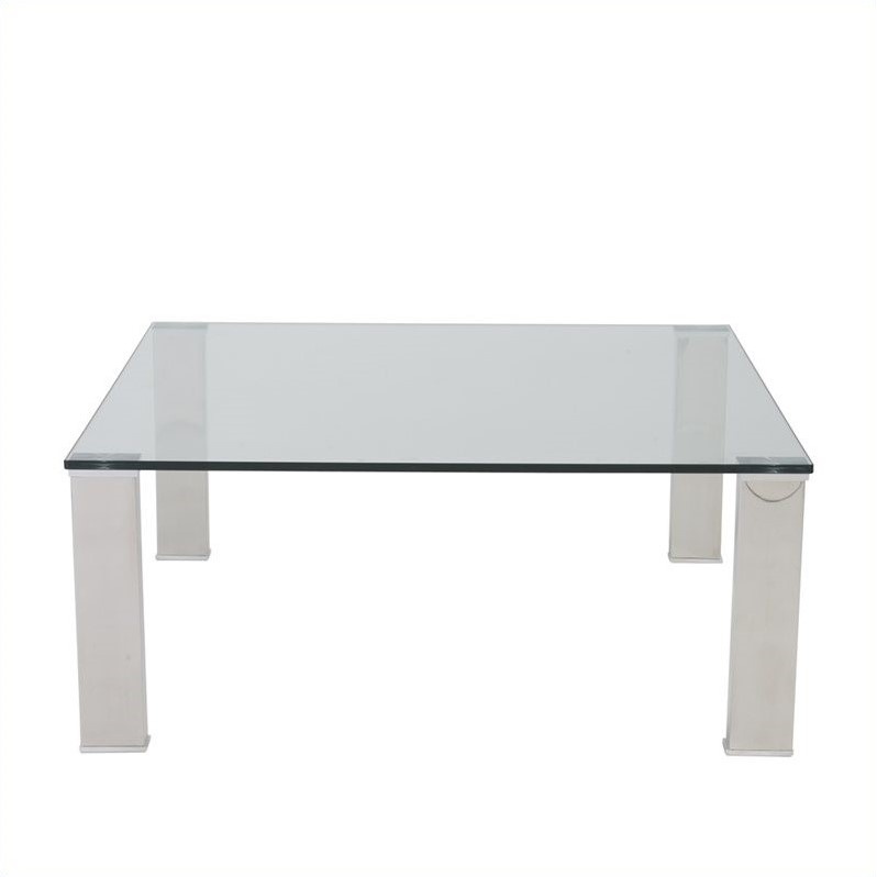 Eurostyle Beth Square Glass Coffee Table in Clear