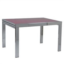 Eurostyle Duo Rectangular Extension Dining Table in Chrome and Red Glass