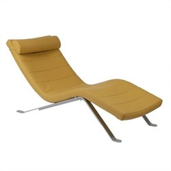 Eurostyle Gilda Lounge Chair in Saffron with Silver Base