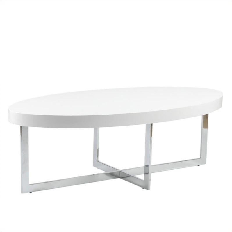 Oliver Oval Coffee Table in White Lacquer