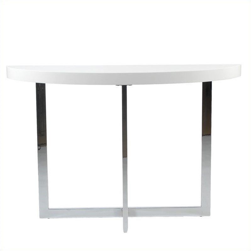 Eurostyle Oliver Demilune Console Table In White Lacquer