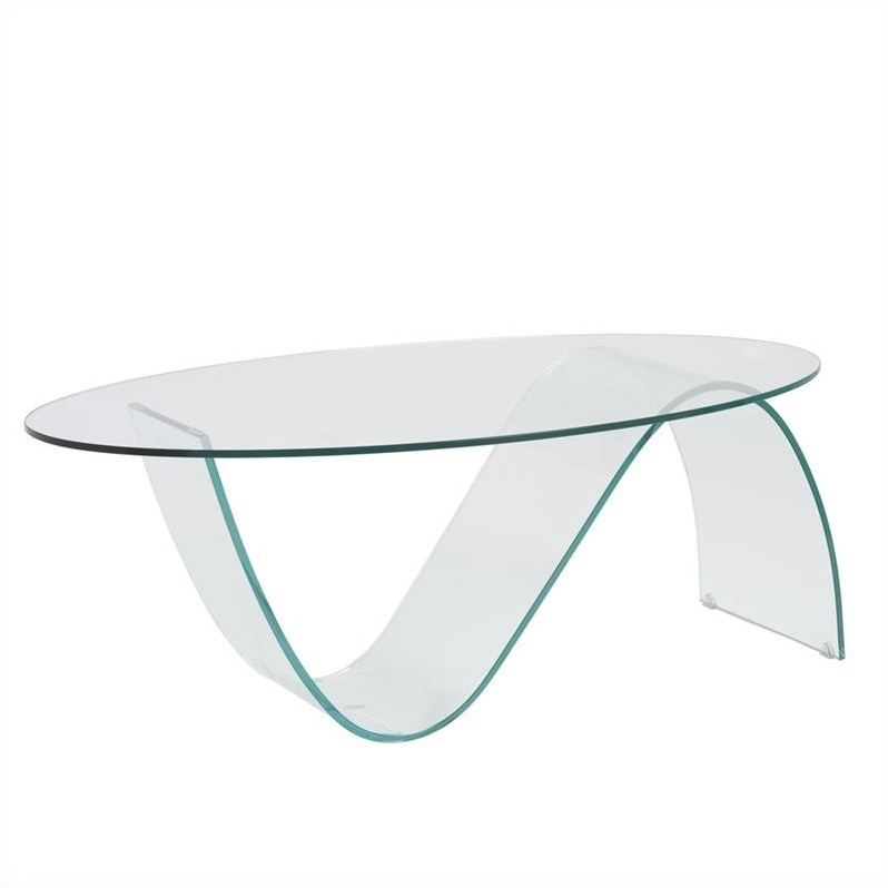 Pandora Oval Glass Coffee Table in Clear