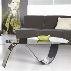 Eurostyle Pandora Oval Glass Coffee Table in Smoked