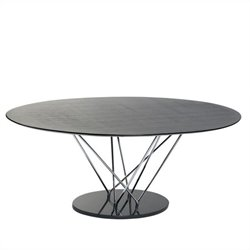 Eurostyle Stacy Oval Dining Table in Black and Ebony