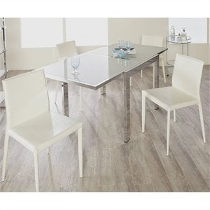 Eurostyle Duo Square Exension 5 Piece Dining Set in Chrome Frost