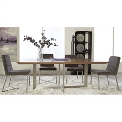 Eurostyle Tosca 5 Piece Dining Set in Walnut and Gray