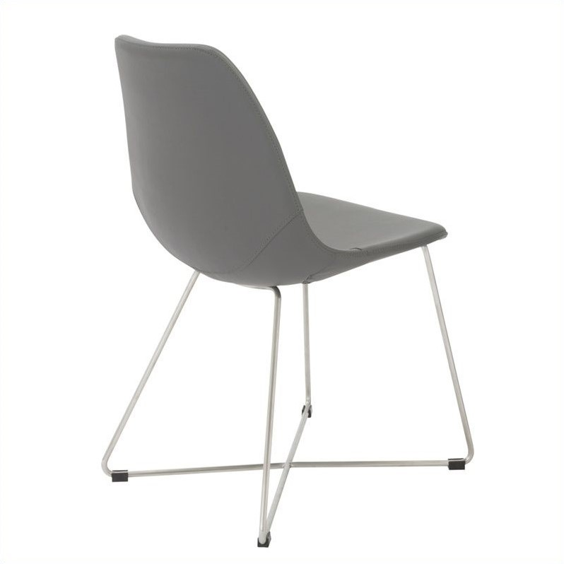 Eurostyle Anahita  Dining Chair in Gray Polyurethane Brushed Stainless Steel