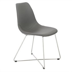 Eurostyle Anahita Side Chair in Gray Polyurethane Brushed Stainless Steel