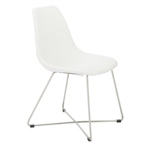 Eurostyle Anahita  Dining Chair in White Polyurethane Brushed Stainless Steel