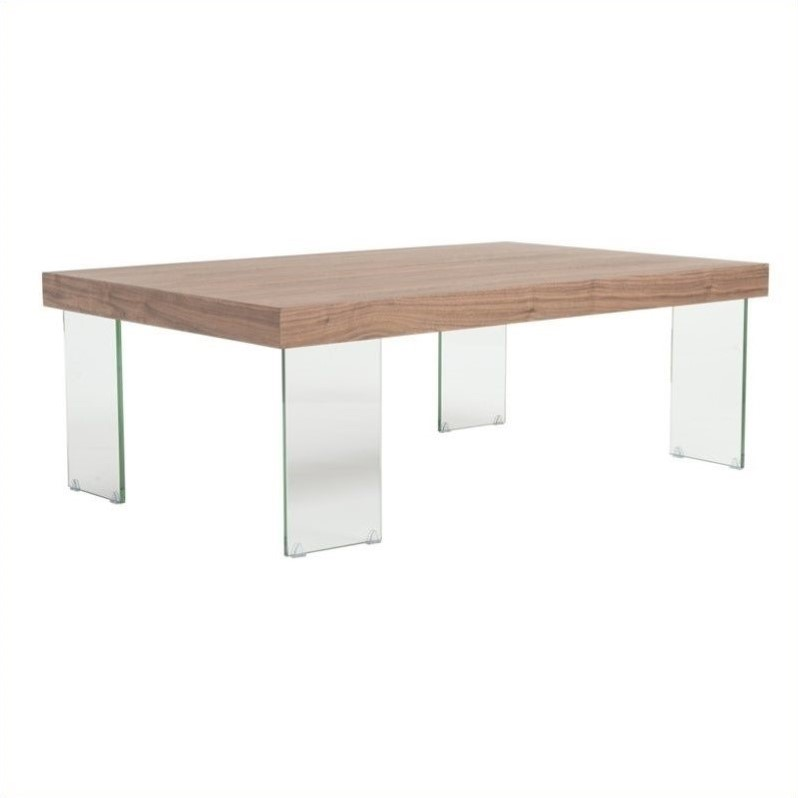 Eurostyle cabrio coffee table in clear and walnut 09662wal a g kit Clear coffee table