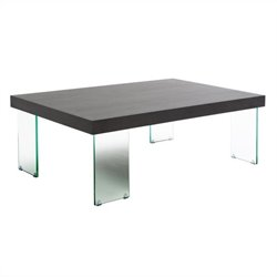 Eurostyle Cabrio Coffee Table Glass in Clear and Wenge