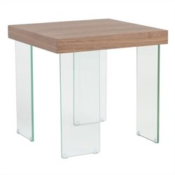 Eurostyle Cabrio Side Table in Clear and Walnut