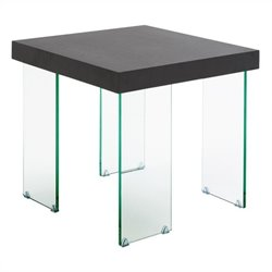 Eurostyle Cabrio Side Table in Clear and Wenge