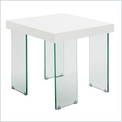 Eurostyle Cabrio Side Table in Clear and White