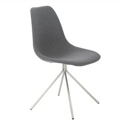 Eurostyle Dax Side Chair in Gray Fabric and Brushed Stainless Steel