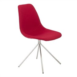 Eurostyle Dax Side Chair in Red Fabric and Brushed Stainless Steel
