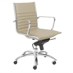 Eurostyle Dirk Low Back Office Chair in Taupe and Chrome