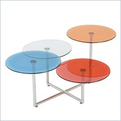 Eurostyle Grayson Glass Coffee Table in Blue and Clear and Orange and Red